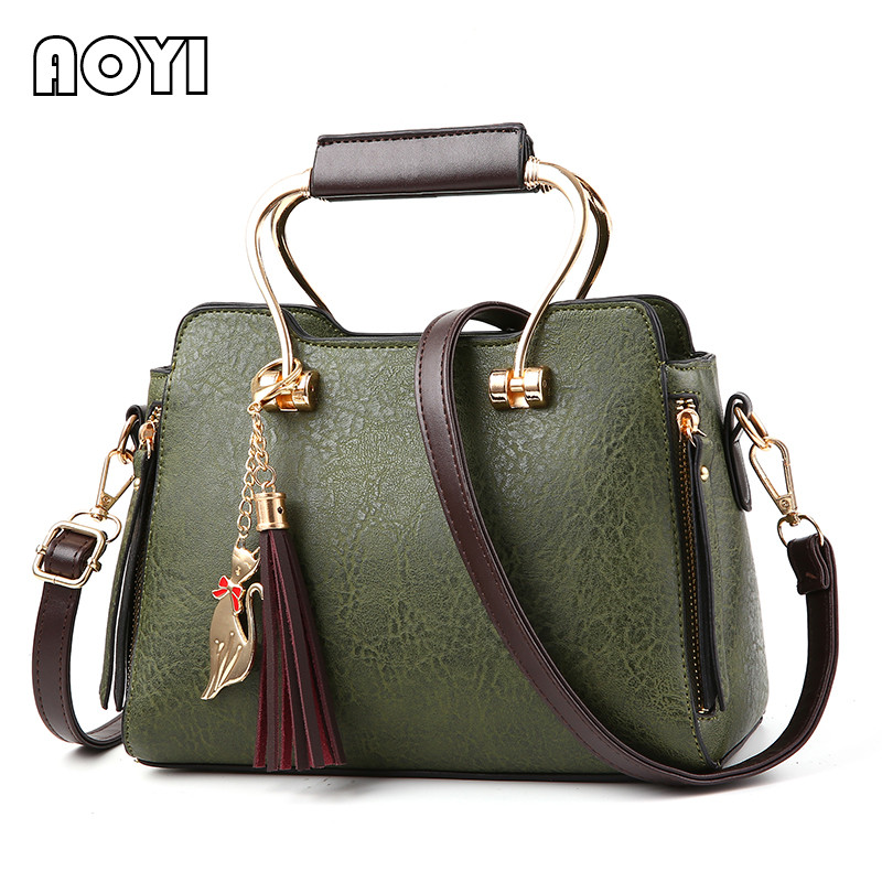 AOYI Famous Brand Women Handbag Fashion PU Leather Tassel Tote Luxury Lady Shoulder Bag Crossbody Bags Large Capacity Hand Bag 2016 new fashion women s messenger bags famous brand handbag leather lady shoulder bags clutches diagonal mochila casual tote