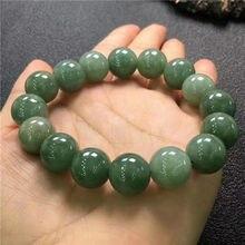 Натуральный зеленый цвет яблока нефрит Агат Круглый Большой бисер мужской браслет 13,8 мм AAA