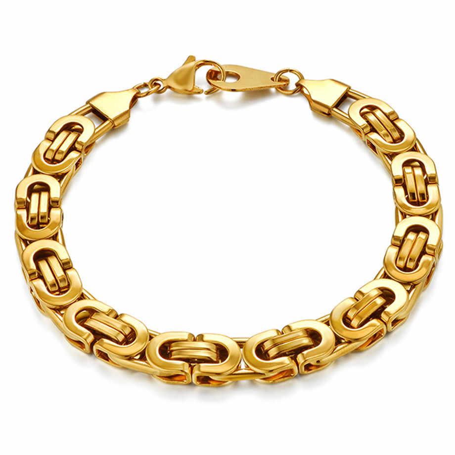 Męskie bransoletka złoto srebro kolor bizantyjski łańcuchy ze stali nierdzewnej bransoletki dla mężczyzn modna biżuteria na prezent 6/8mm