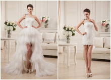 High Low  Detachable Wedding Dress With One Strap White Organza Front Short 2 in 1 Bridal Gown 100% Real Photo