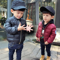 New fashion little boy 1-5 years winter bread jacket thick coat letter print kids boy casual winter outerwear down & parkas