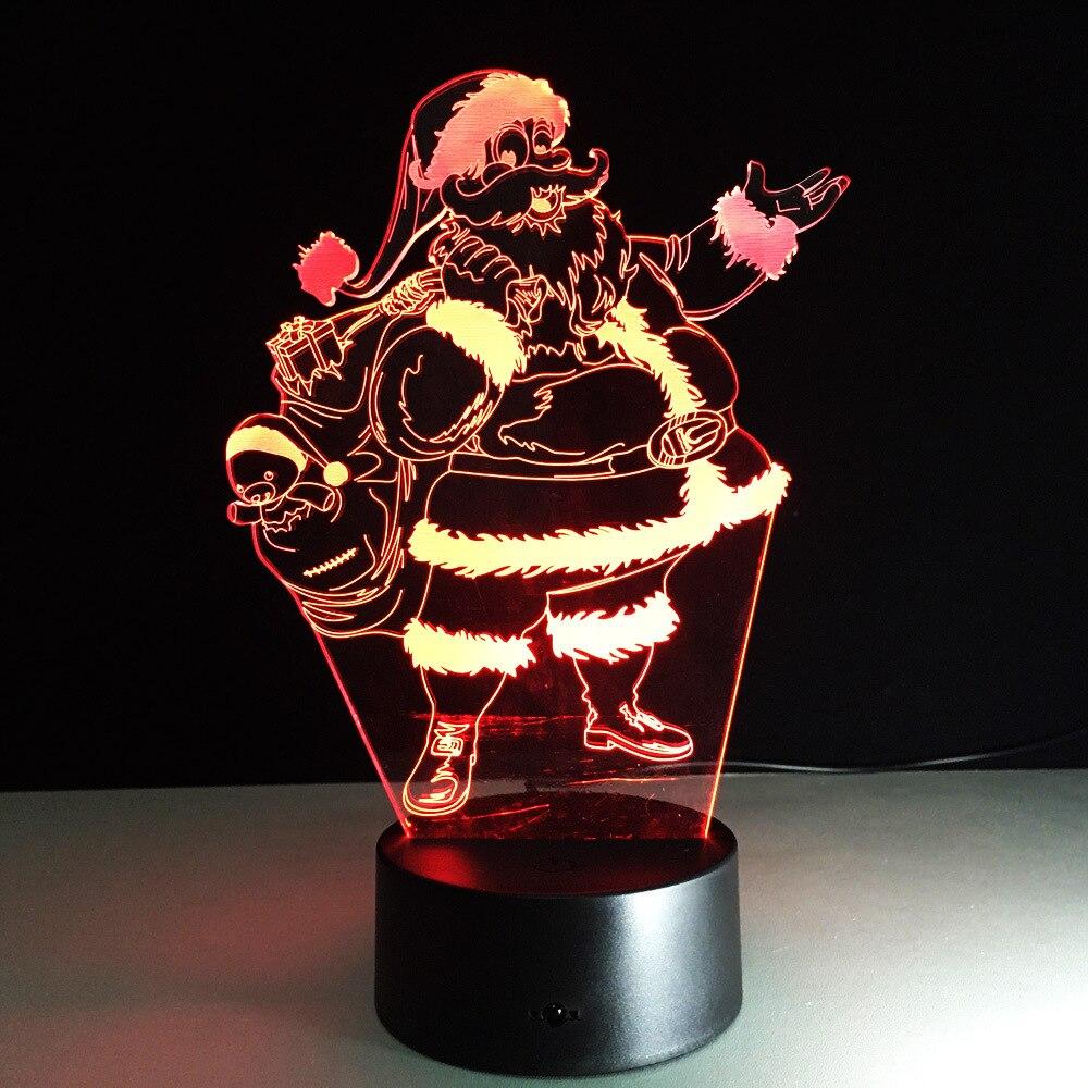 Санта Клаус Форма 3D ночь бордовый 7 цветов изменить USB 3D лампа Touch Таблица Lampara лампе Рождественский подарок украшения для дома