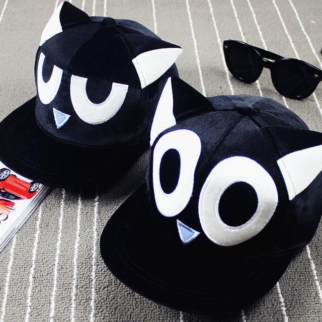Tampas harajuku 2017 kawaii coreano chapéus para homens bonito dos desenhos animados orelhas de gato olhos bordado boné de beisebol esporte hip hop chapéu cap