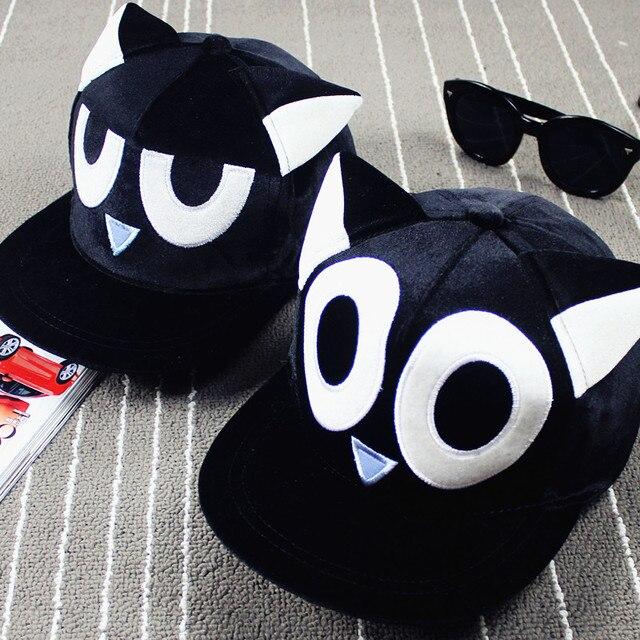 harajuku caps 2017 kawaii korean hats for men cute cartoon cat ears eyes embroidered sport baseball cap hip hop hat cap
