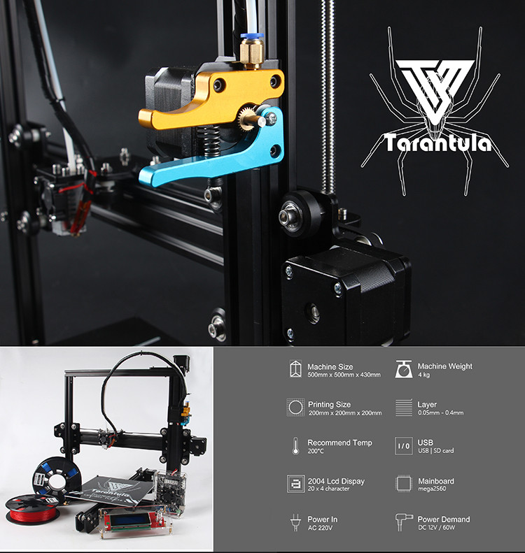 3D Printer Kits TEVO Tarantula I3 Aluminium Extrusion 3D Printer kit 3D Printer 2 Rolls Filament 3d printer kits tevo tarantula i3 aluminium extrusion 3d printer tevo tarantula wiring diagram at beritabola.co