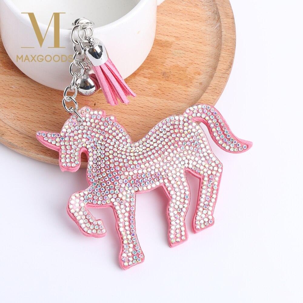 1 Pcs Leuke Eenhoorn Paard Sleutelhanger Voor Vrouwen Trinket Lederen Multicolor Crystal Sleutelhangers Ringen Houder Voor Auto Sleutelhangers Sleutelhanger Het Hele Systeem Versterken En Versterken