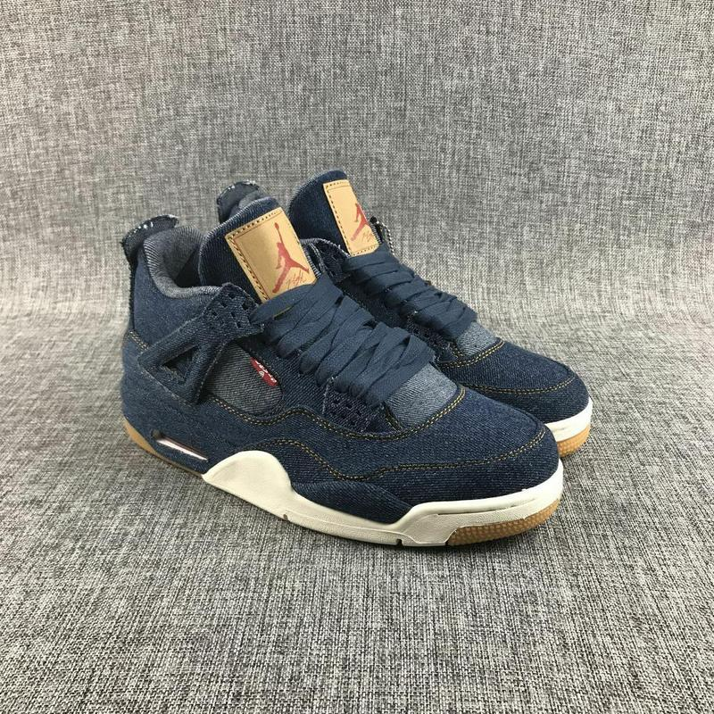 New Arrival Jordan Retro 4 X lev Denim fabric Men Basketball shoes  Breathable Athletic Outdoor Sport Sneakers EUR SIZE 40-47 peak sport lightning ii men authent basketball shoes competitions athletic boots foothold cushion 3 tech sneakers eur 40 50