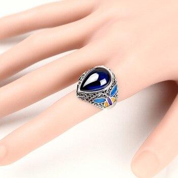 925 Thai silver drop of garnet gem ring female cloisonne national wind restoring ancient ways ring