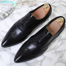 QYFCIOUFU Men Formal Shoes Genuine Leather Luxury Brand Pointed Toe Fashion Dress Office Italian Lace-up Brogue