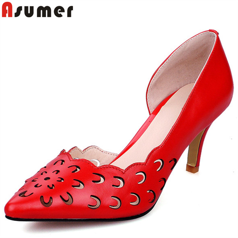 ASUMER white red fashion new shoes woman pointed toe shallow pumps women shoes genuine leather high heels prom wedding shoes cocoafoal woman green high heels shoes plus size 33 43 sexy stiletto red wedding shoes genuine leather pointed toe pumps 2018