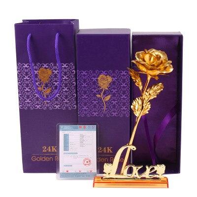 Valentine'i kingitus, 24k kuldne roosi väljavalitu lill + armastuse - Pühad ja peod - Foto 2