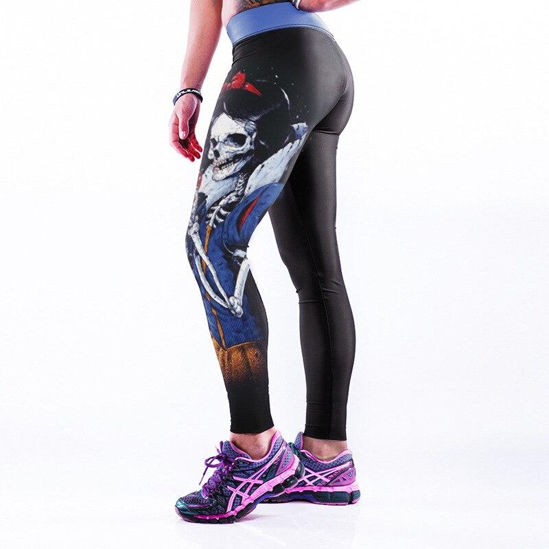 Women Flexible Skull Snow White Print Tight Pants Workout Gym Training Running Yoga Sport Fitness Exercise Leggings Dropshipping