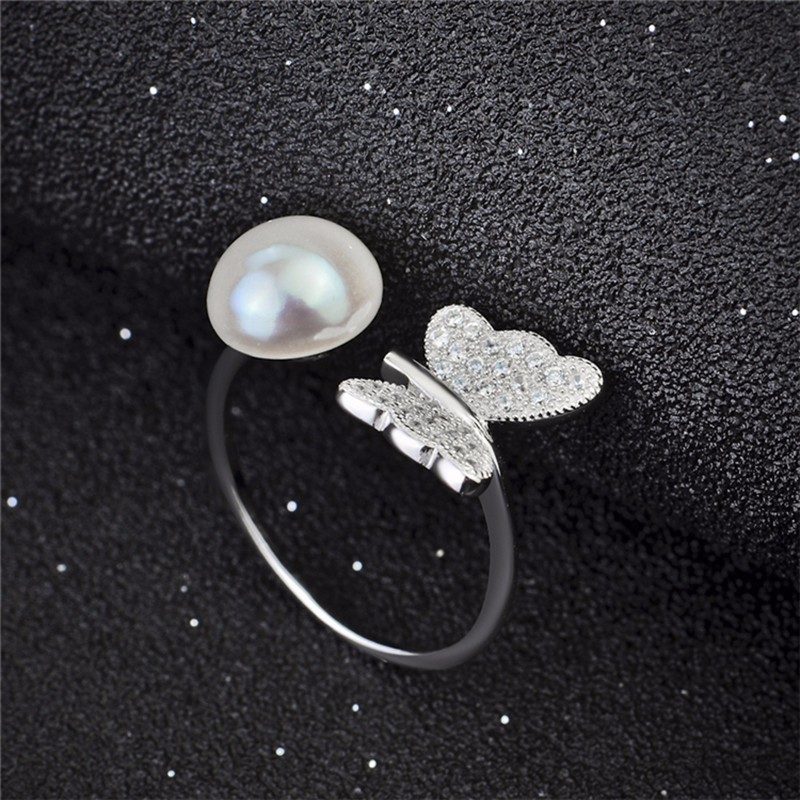 Silver pearl ring GNJ0585 (2)