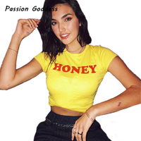 New Summer Women S Casual T Shirt Women Tops Loose Honey Letters Printed Cotton Short Sleeve