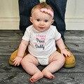 2017 Pai de Verão Princesa Meninas Carta O-pescoço de Manga Curta Macacão Macacão de Algodão Do Bebê Recém-nascido Bonito Bebe Roupas Roupa