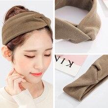 CHIMERA Simple Fashion Twist Headbands Elastic Wide Jersey Cross Head Wrap Soft Light Brown Boho Hairband Women Solid Turban