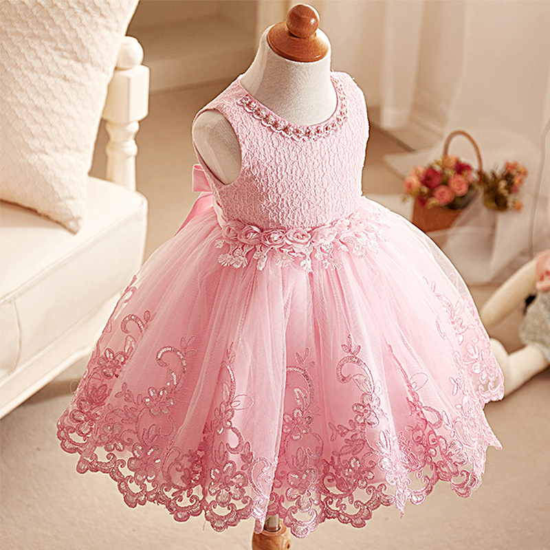 Summer Girls Dresses Lace Mesh Pearls Children Wedding Party Dresses Kids Evening Ball Gowns Formal Baby Frocks Clothes for Girl hayden vintage lace flower girls dresses summer costume for teens girl children clothing kids clothes girls party frocks designs