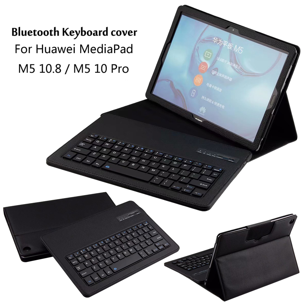 Wireless Bluetooth Keyboard PU Leather Cover Protective Case For Huawei MediaPad M5 10.8 / 10 Pro CMR-AL09 CMR-W09 + Gift case for huawei mediapad m5 10 8 inch cmr al09 wireless bluetooth keyboard protective mediapad m5 10 pro 10 8 tablet cover case