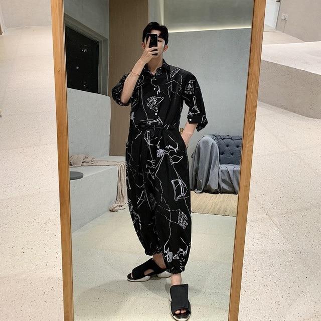 Men Summer Short Sleeve Loose Casual Shirt Jumpsuits Cross Pants Male Streetwear Hip Hop Fashion Overalls Harem Trousers 5