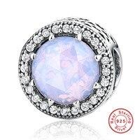 100 925 Sterling Silver Radiant Hearts Opalescent Pink Crystal Clear CZ Fit Pandora Bracelets DIY Jewelry