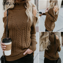 Womens Sweater Turtleneck Winter off-shoulder Female Knitted Women Pullover Pull Femme DB135