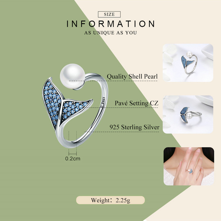 BISAER 100% 925 Sterling Silver Female Mermaid Tail Adjustable Finger Rings for Women Wedding Engagement Jewelry S925 GXR286