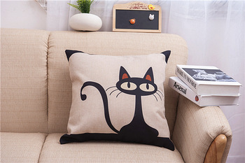Cotton linen comfort kids bedding sets pillowcase new kids gift pillow cover little black cat image