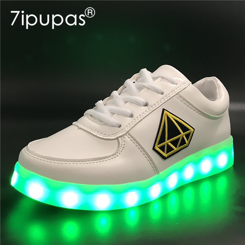 7ipupas EUR 30-44 superman Casual Luminous Sneakers USB Charger Lighted shoes led for Boy&Girl glowing sneakers Kid led slippers