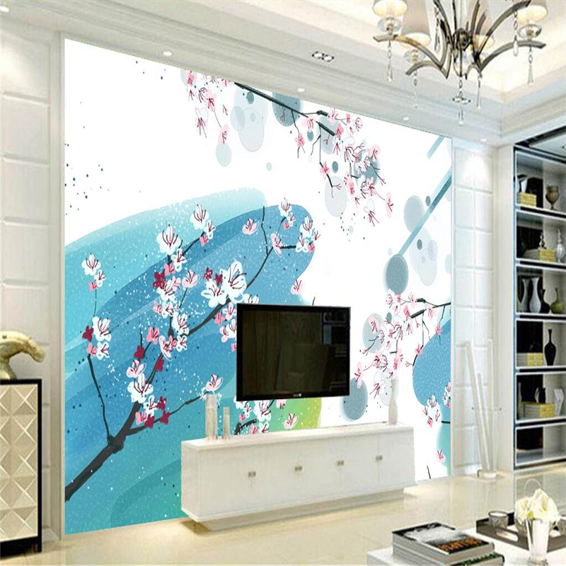 Custom Wallpaper 3d Peach Blossom Ink Flower Mural Wallpaper Embossed TV Background Kitchen Study Bedroom Living Room 3d Wall book knowledge power channel creative 3d large mural wallpaper 3d bedroom living room tv backdrop painting wallpaper
