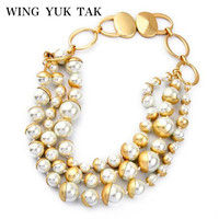 Luxury New Chic Hyperbole Gold Color Copper Pearl Maxi Bib Collar Necklace For Women Charm Jewelry