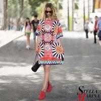 New Euro Women Spring Black Blue Floral Printed Dress O Neck Half Sleeve Cute Ladies Knee