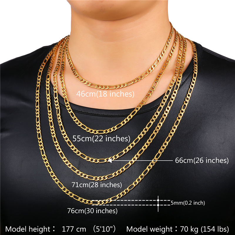 tone item men stainless quality in chain fashion high steel necklaces necklace punk jewelry gold chains flat costume from silver two s