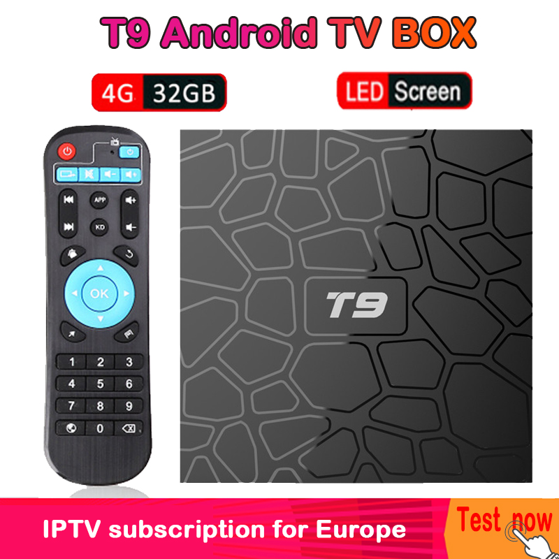 T9 Android 8.1 Smart TV Box RK3328 4K HD 4GB+32GB Set Top Box ARM Cortex-A53 2.4GHz WiFi BT 4.1 Google Play Netflix media player
