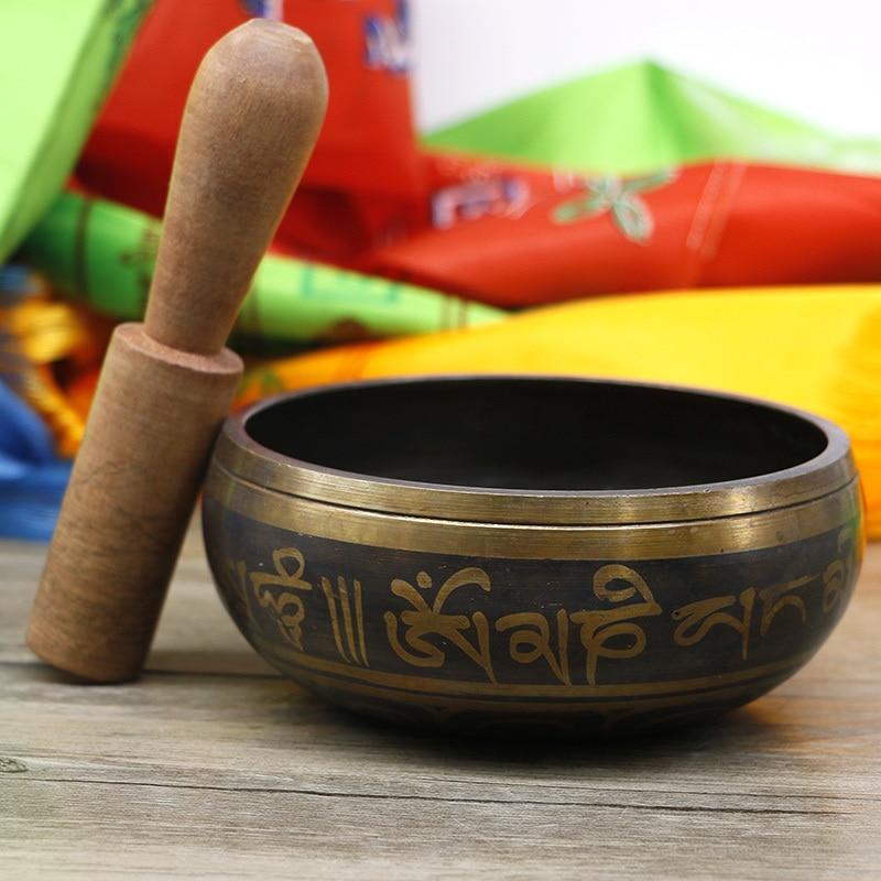 Copper Singing Bowl Manual Tapping Metal Craft Buddha Bowl Religious Earthenware Basin Tibetan Meditation Music Bowl Instrument