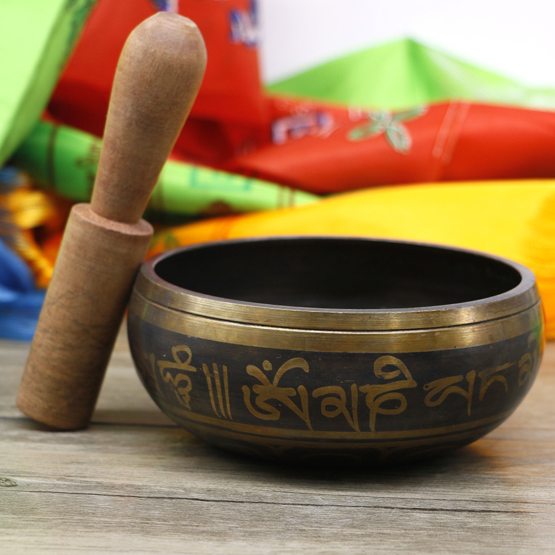 Copper Singing Bowl Manual Tapping Metal Craft Buddhist Bowl Religious Basin Tibetan Meditation Music Bowl Musical Instrument