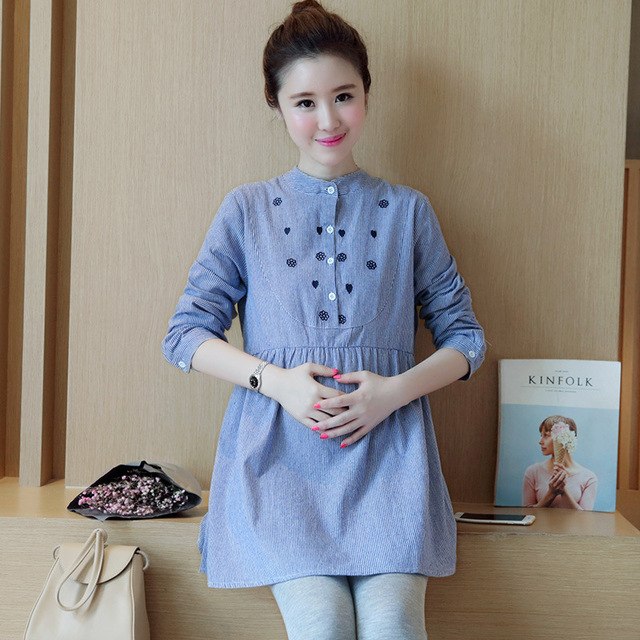 f521eb239c9 Embroidery Cotton Maternity Shirt Spring Autumn Blouse Tops Tees Office  Wear Clothes for Pregnant Women Pregnancy