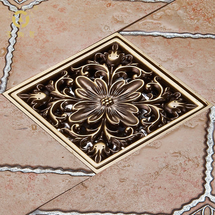 The whole copper shower is engraved with the ancient European insects deodorized floor drain dont bug the insects