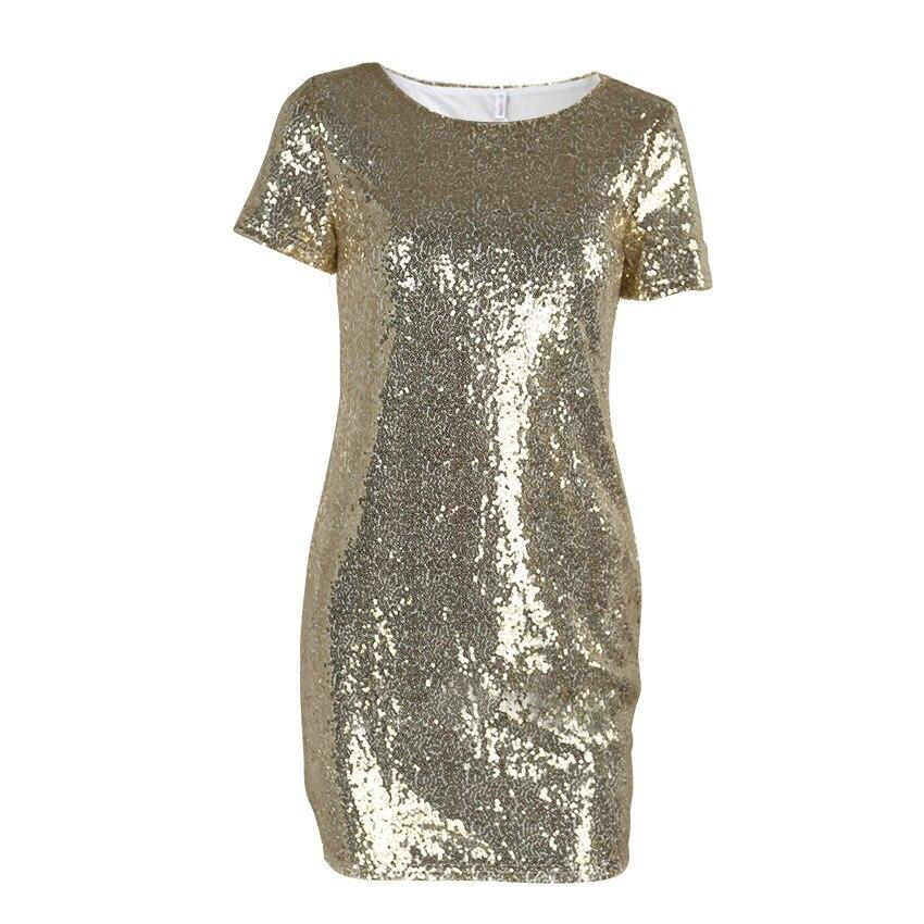 Sequins Gold Dress 2019 Summer Women Sexy Short T Shirt Dress Evening Party Elegant Club Dresses
