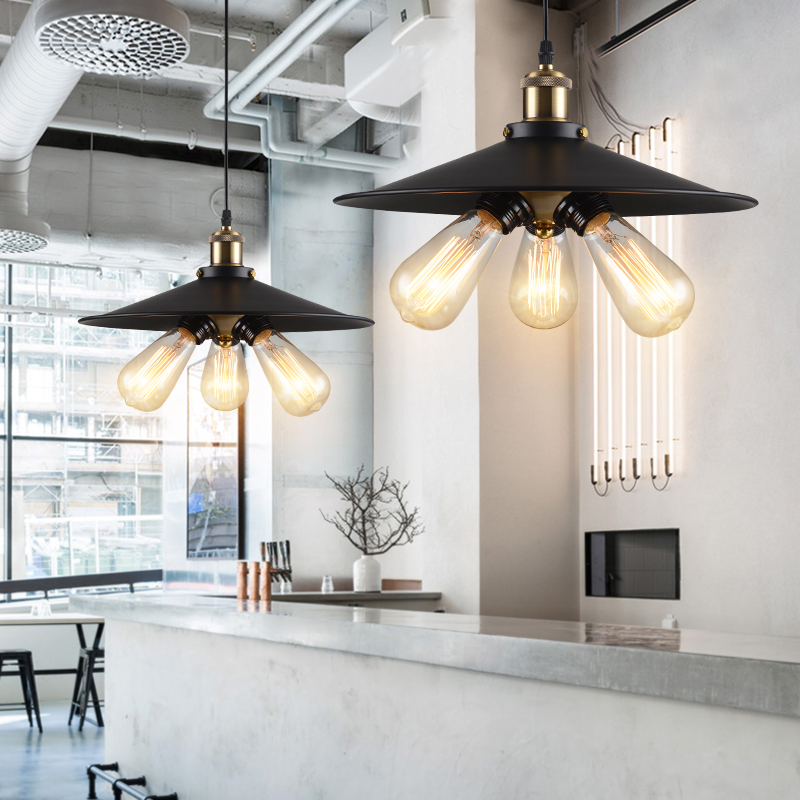 ФОТО E27  Iron American industrial spread ancient simple creative personality restaurant bar table bedroom chandeliers