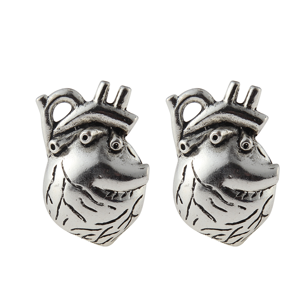 10 pcs 25*37mm Trendy Punk Wind Silver Plated Alloy Heart organ Pendant Charms For Jewelry Making DIY Accessories