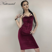 2016 New Year Red Velvet Dress For Women Autumn Winter Sexy Sheath Strapless Bodycon Dresses Clubwear