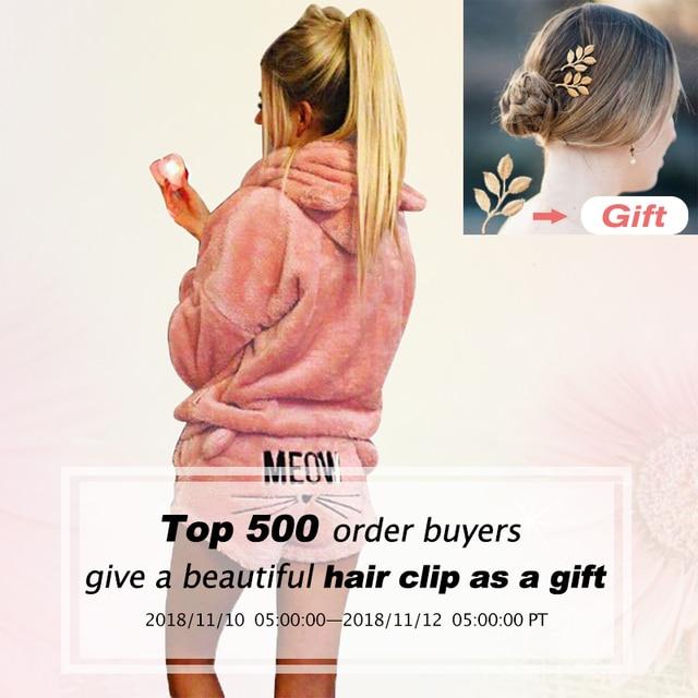 Women Coral Velvet Suit Two Piece Autumn Winter Pajamas Warm Sleepwear Cute Cat Meow Pattern Hoodies Shorts Set 2018 New 1