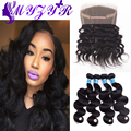 Pre Plucked 360 Lace Frontal With Bundle Brazilian Body Wave 7A Unprocessed Human Hair Weave Brazilian Virgin Hair Bundles Deals