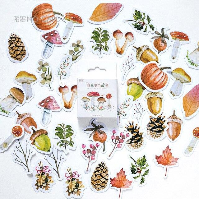 46 unids/caja de otoño bosque diario pegatina Kawaii planificador Scrapbooking pegajoso papelería Escolar de la escuela suministros