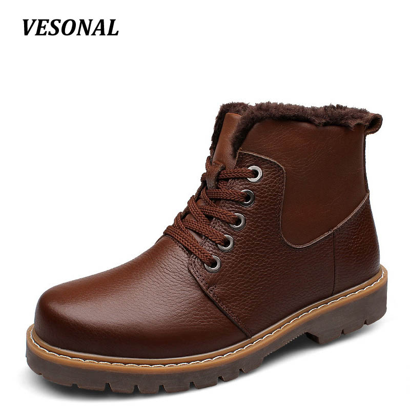 VESONAL Brand 100% Genuine Leather Snow Boots Men Shoes Winter Warm Faux Fur Velvet Cow Military Motocycle Boot Male SD0268 vesonal summer 100