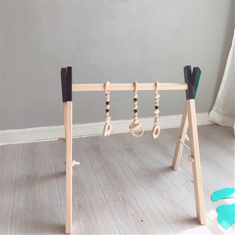 Nordic Wooden Baby Gym Accessories & Play Gym Rattle Toy Set Frame Nursery Decor Montessori Sensory Toy Baby Rattles Best Gifts