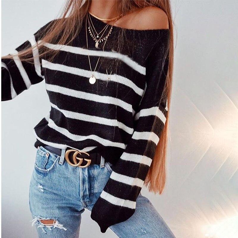 2019 Autumn Casual Women's Sweaters & Sweaters Black White Stripes Fashion Women's Sweater Knitwear Pull Women Q