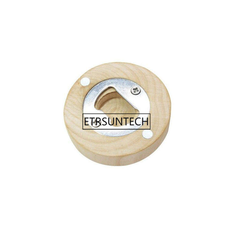500pcs Wood Bottle Opener Fridge Magnet Round Wooden Coaster Personalize Engraved Wedding Party Favor and Gift