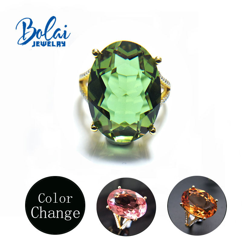 Bolaijewelry,Big Size Oval 13*18mm Women Zultanite Color Change Rings 925 Sterling Silver Fine Jewelry Best Gift For Wife Mom