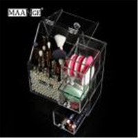 Clear Acrylic Pearl Box Cosmetic Case Lipstick Holder Makeup Organizer Cotton Swab Box Cosmetic Display Holder With Drawer jj25